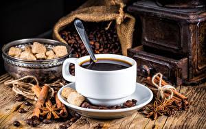 Pictures Coffee Star anise Illicium Cinnamon Cup Sugar Grain