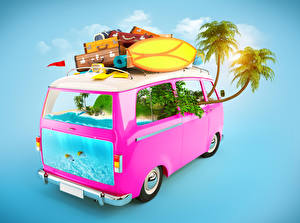 Hintergrundbilder Kreativ Omnibus Palmengewächse Koffer 3D-Grafik
