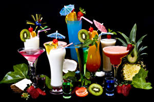 Pictures Drinks Cocktail Fruit Strawberry Black background Stemware Parasol Highball glass Food