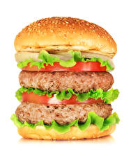 Picture Fast food Hamburger Buns Meat products Tomatoes White background Food