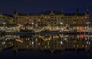 Images Finland Stockholm Houses Rivers Marinas Riverboat Night Street lights Cities