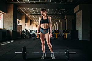 Hintergrundbilder Fitness Braunhaarige Körperliche Aktivität Hantelstange Bauch Mädchens Sport