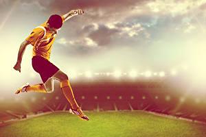Hintergrundbilder Fußball Mann Stadion Sprung Uniform
