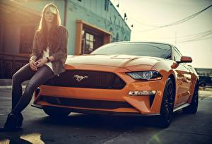 Pictures Ford Orange mustang Cars Girls