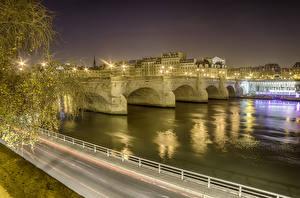 Hintergrundbilder Frankreich Gebäude Fluss Brücken Wege Paris Nacht Städte