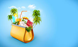 Fotos Handtasche Kreativ Fruchtsaft Farbigen hintergrund Palmengewächse Trinkglas 3D-Grafik