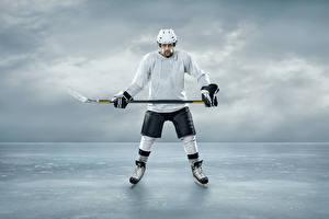 Обои Хоккей Мужчины Льда Шлем Униформе