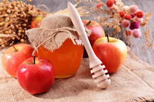 Fotos Honig Äpfel Einweckglas Lebensmittel