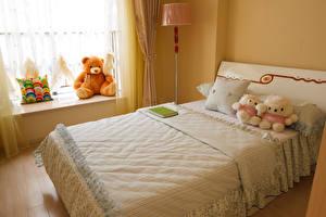 Hintergrundbilder Innenarchitektur Knuddelbär Spielzeug Kinderzimmer Design Bett