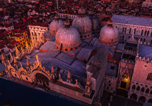 Images Italy Temples Venice Design Night From above Domes Saint Marco Basilica Cities