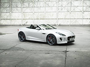 Wallpaper Jaguar White Cabriolet 2016 F-Type British Design Edition auto