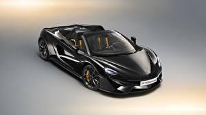 Hintergrundbilder McLaren Schwarz Metalle Roadster Spider 2018 570S Design Edition