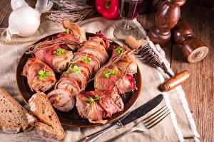 Bilder Fleischwaren Brot Messer Teller Geschnitten Gabel