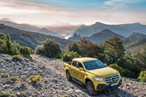 Fotos Mercedes-Benz Gelb Pick-up Metallisch 2017 X-Klasse Progressive Worldwide Autos