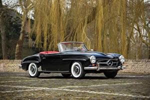 Fotos Mercedes-Benz Retro Schwarz Cabriolet Metallisch 1955-62 190 SL automobil
