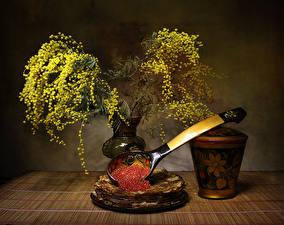 Hintergrundbilder Silber-Akazie Eierkuchen Stillleben Caviar das Essen Blumen