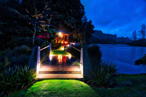 Desktop wallpapers New Zealand Rivers Bridges Night Huka Lodge Nature