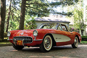 Hintergrundbilder Antik Chevrolet Rot Metallisch 1957 Corvette Fuel Injection 579B 283-283 HP Autos