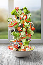 Pictures Salads Vegetables Cucumbers Tomatoes Creative Plate