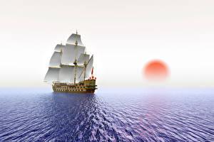Bilder Meer Schiffe Segeln Sonnenaufgänge und Sonnenuntergänge Sonne 3D-Grafik