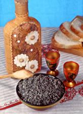 Bilder Meeresfrüchte Kaviar Flasche Dubbeglas Getreide das Essen