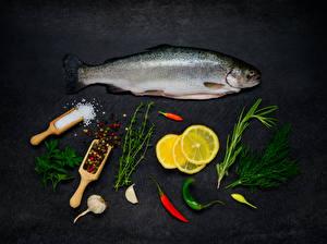 Image Seafoods Fish - Food Lemons Dill Allium sativum Black pepper Salt Food