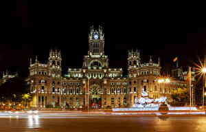 Pictures Spain Madrid Building Night time Street lights Fence Street Cities