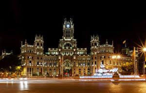 Hintergrundbilder Spanien Madrid Gebäude Nacht Straßenlaterne Zaun Stadtstraße