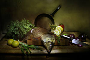 Picture Still-life Fish - Food Lemons Vegetables Cutting board Food