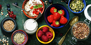 Pictures Still-life Muesli Strawberry Raspberry Sunflower seed Spoon Cream