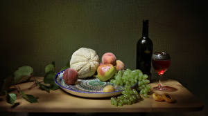 Pictures Still-life Wine Melons Grapes Peaches Bottle Stemware Plate Table