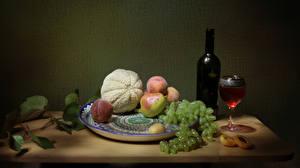 Bilder Stillleben Wein Melone Weintraube Pfirsiche Flaschen Weinglas Teller Tisch