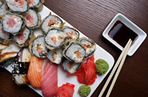 Hintergrundbilder Sushi Fische - Lebensmittel Reis Sojasauce