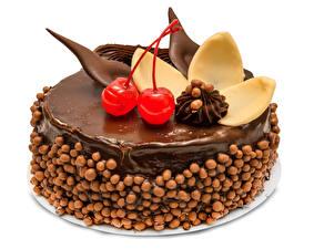 Fotos Süßware Torte Schokolade Kirsche Weißer hintergrund Design