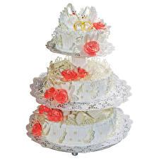 Bilder Süßware Torte Rosen Weißer hintergrund Design Heirat