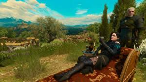 Hintergrundbilder The Witcher 3: Wild Hunt Geralt von Rivia Yennefer 3D-Grafik Mädchens