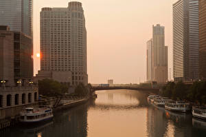 Wallpapers USA Houses River Marinas Ship Riverboat Sunrise and sunset Chicago city Illinois