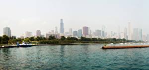 Fotos Vereinigte Staaten Gebäude Flusse Wolkenkratzer Bootssteg Binnenschiff Chicago Stadt Illinois