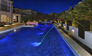 Images USA Building Villa Evening California Swimming bath Design Irvine Cities