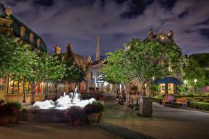 Bilder Vereinigte Staaten Park Abend Haus Springbrunnen Florida Design Straßenlaterne Bäume Epcot Walt Disney World Orlando Städte