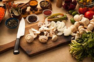 Hintergrundbilder Gemüse Pilze Messer Gewürze Zucht-Champignon Das Essen