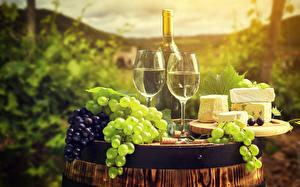 Wallpaper Wine Grapes Cheese Bottle Stemware