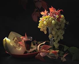 Hintergrundbilder Wein Trauben Melone Dubbeglas Blatt das Essen