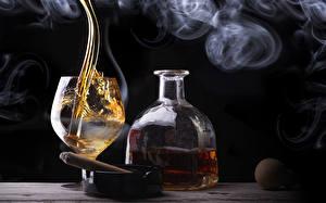 Photo Alcoholic drink Whisky Bottle Stemware Smoke Cigar