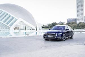 Sfondi desktop Audi Blu colori Metallizzato 2017 A8 55 TFSI quattro Worldwide macchine