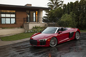 Pictures Audi Red Cabriolet Metallic 2018 R8 Spyder V10 auto