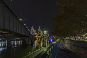Photo Australia Melbourne Building River Bridges Night time Cities