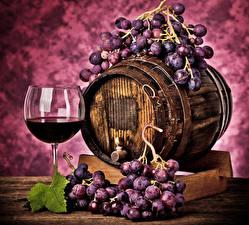Pictures Barrel Wine Grapes Stemware
