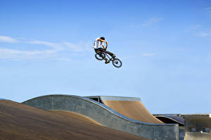 Photo Bike Jump Young man Sport