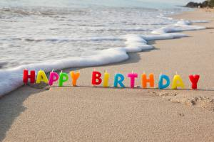 Pictures Birthday Candles Coast Waves Sand